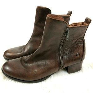 Born Brown Leather Landa Ankle Boots D41116